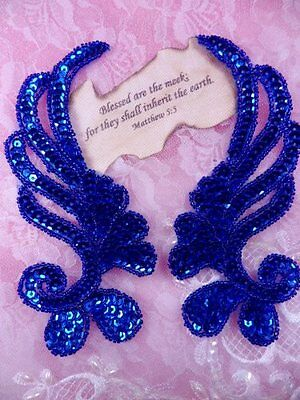 0182 Blue Mirror Pair Sequin Beaded Appliques 6