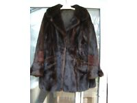 VINTAGE 1960s REAL MINK COAT - SIZE 12 - DARK BROWN