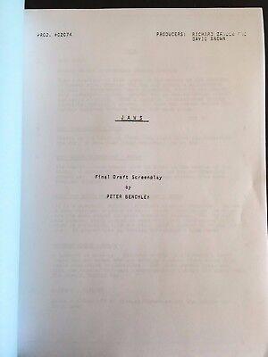 JAWS 1975 screenplay script final draft - Spielberg,  Scheider, Shaw, Dreyfuss