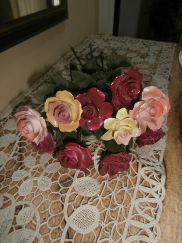 Vintage Porcelain Stem Roses Ebay