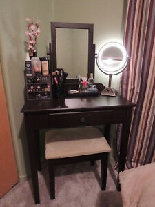 Room Vanity Make Up Table Mirror Stool Set with Storage Drawer Espresso Dresser