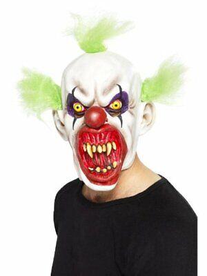 Payaso Siniestro Máscara con Banda Verde Cabello Evil Disfraz de Halloween Niños