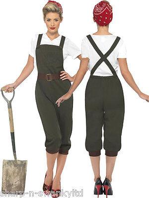 Land Girl Army Fancy Dress Costume Outfit UK 8-26 Plus Size (Plus Size Army Girl Kostüm)