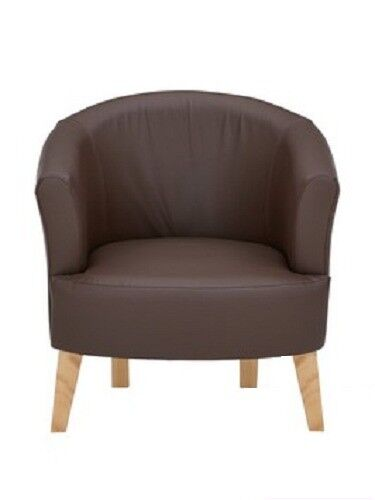 Ora Tub Faux Leather Accent Chair in Chocolate Brown
