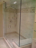 Shower glass and Bathtub and TILE