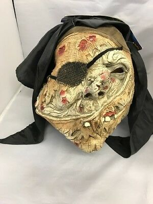 Halloween Pirate Mask With Gory Face & Teeth Bandanna Scary  Latex Adult Mask - Scary Gory Halloween Masks