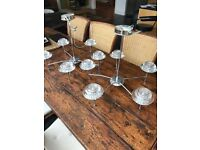 Pair of hanging chrome chandeliers