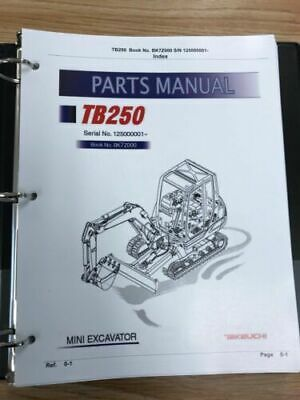 Takeuchi Tb250 Parts Manual Sn 125000001 And Up Free Priority Shipping