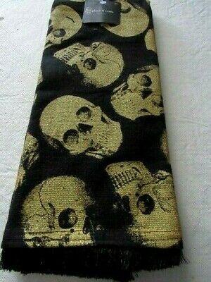 "Halloween Kitchen Hand Dish Towel Skulls 16"" X 26"" Gold/Black 100% Cotton"