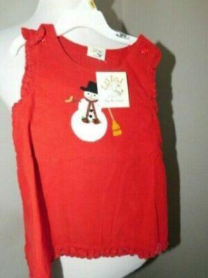 Luigi Kids Size 24M Girls Red Snowman Coruroy Boutique Dress NWT