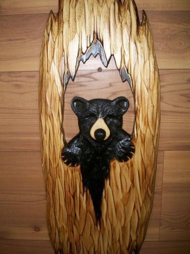Hand Carved Wood Bear Ebay