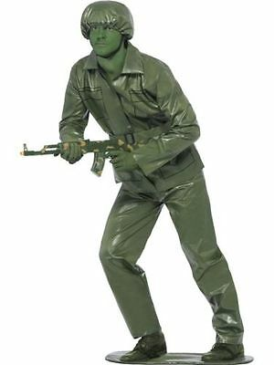 Men's Boy's Green Toy Action Fancy Dress Costume Soldier Army Stag Theme Fun Do  - Toy Army Men Costume