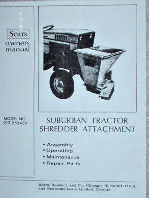 917.253430 -sears Suburban Chipper Shredder Owners Manual On Cd