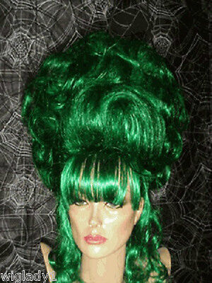 Sin City Costumes (SIN CITY WIGS COSTUME UP DO JADE GREEN CURLS VICTORIAN DRAG QUEEN WILD FUNKY)