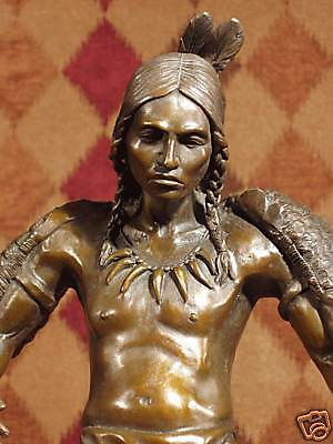 Real Bronze Metal Statue Marble Strong Brave Native Indian Fire Dancer Sculpture