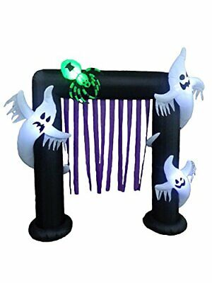 8 Foot Halloween Inflatable Ghosts Spider Archway Arch LED Lights Decor Outdoor