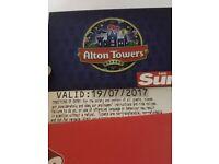 2 x alton towers tickets.19/07/17