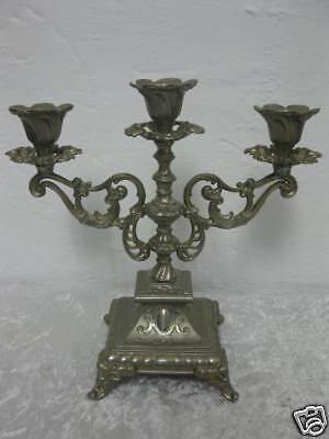 alter 3 armiger Leuchter aus Metall / Zinkguß Kerzenleuchter Kerzenständer