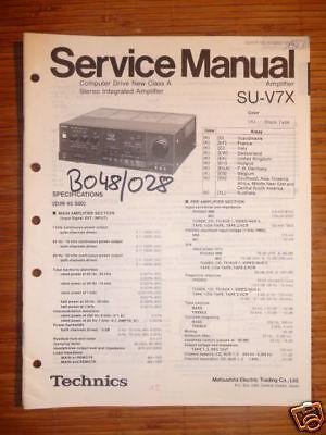 Technics Manual de Servicio SU-V7X Amplificador, Original segunda mano  Embacar hacia Mexico
