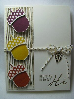 Stampin Up Dropping in to say Hi Thinking of You Acorn Tree Card Kit - 2 Cards