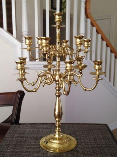 Solid brass candle holder ebay for Used candle holders