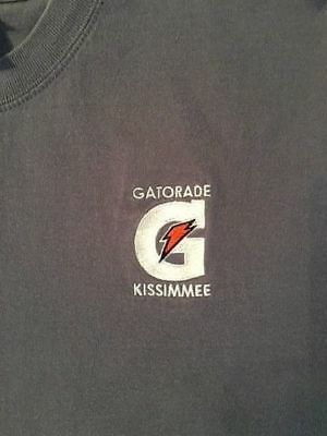 GATORADE G ORANGE LIGHTING BOLT Mens Adult Gary Blue Medium Tee / T-Shirt NEW