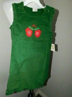 Luigi Kids Size 24M Girls Green Mitten Coruroy Boutique Dress NWT