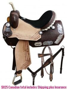 "14"" 15"" 16"" Western Barrel Racing Saddles $747 Leather FULL Bars London Ontario image 1"
