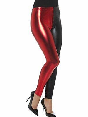 Jester Cosplay Leggings Metallic Black and Red - - Red Jester Kostüm