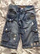 Mens Police Denim Shorts