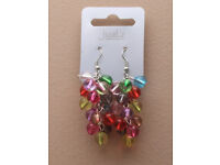 Pair of bright coloured fruit gum ball multi drop bead earrings. - JTY283
