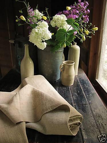 Antique organic HEMP fabric feed sack linen bolt 8.1 yards dark HEAVY