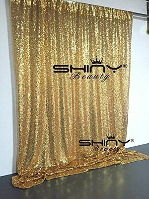Gold Shimmer Sequin Fabric Photography Backdrop Shiny Decor Party - 4ft x 6 ft