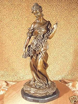 True Bronze Metal Stone Statue Classic Victorian Woman Girl Flower Art Sculpture