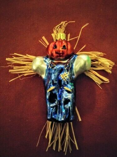 Vintage Halloween Scarecrow Pumpkin Ornament Christopher Radko New Old Stock