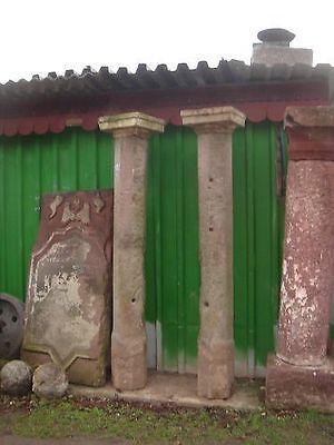2 St. 8-eckige Säulen mit Kapitell, Steinsäulen, Säule, Steinsäule - 2333