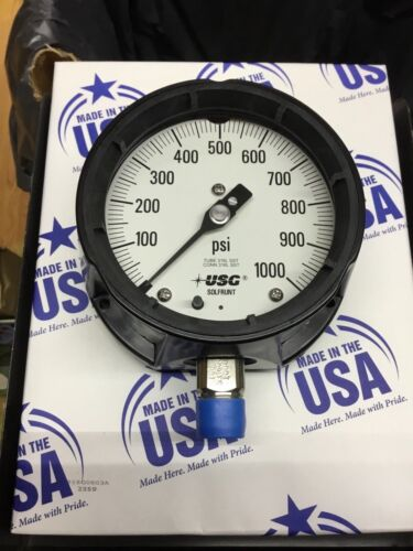 """US Gauge 4 1/2"""" face 0-1000 Psi  Industrial Quality New in box USA"""