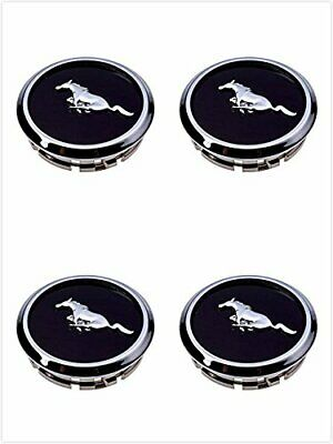 FM66 2005-2014 Mustang Wheel Center Hub Caps Covers Black Chrome Pony Emblem 4 Mustang Wheel Caps