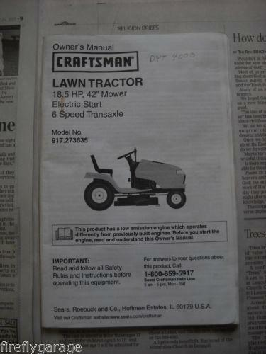 Craftsman Owners Manual Lawn Tractor Ebay