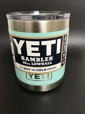 New  Yeti Rambler Low Ball Tumbler 10 Oz Mug With Lid     Seafoam
