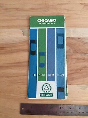 1963 Cities Service Chicago Illinois road map Citgo