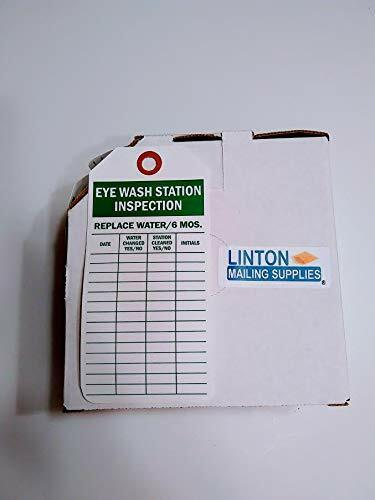 Eye Wash Station Inspection Tag with Fiber Patch, Polyolefin Tag, 100 Tags / Box