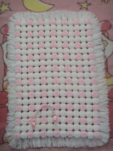 Knitting A Baby Blanket With Pom Pom Wool : Pom blanket ebay