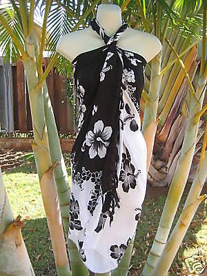 BLACK & WHITE HIBISCUS Women's Sarong Swimsuit Coverup Pareo Hawaiian Luau Dress](White Hibiscus)