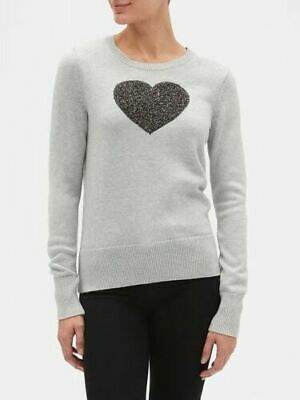 NEW NWT Womens GAP HEART Intarsia Sweater Crewneck Pullover 100% Cotton Grey $49