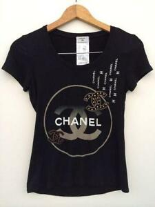 Chanel logo clothing shoes accessories ebay for Authentic chanel logo t shirt