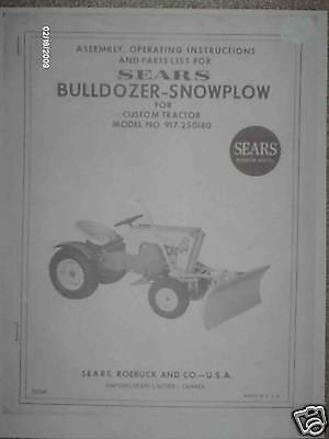 917.250180- Sears Custom Tractor- Dozersnow Blade Owners Manual On Cd