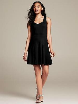 New Banana Republic Cross-Back Ponte Fit-and-Flare Black Dress size 4P