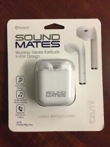 5a395f7b5ed Tzumi 5761WM Sound Mates Bluetooth Stereo Earbuds with Charging Case - White