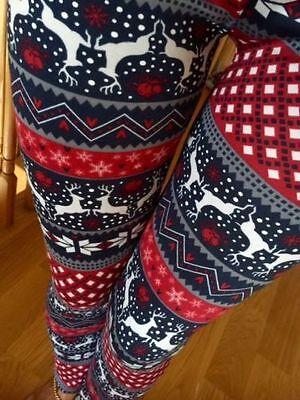 PLUS SNOWFLAKE REINDEER warm winter knitted leggings FUR S M L XL 1X 2X 3X 2-24
